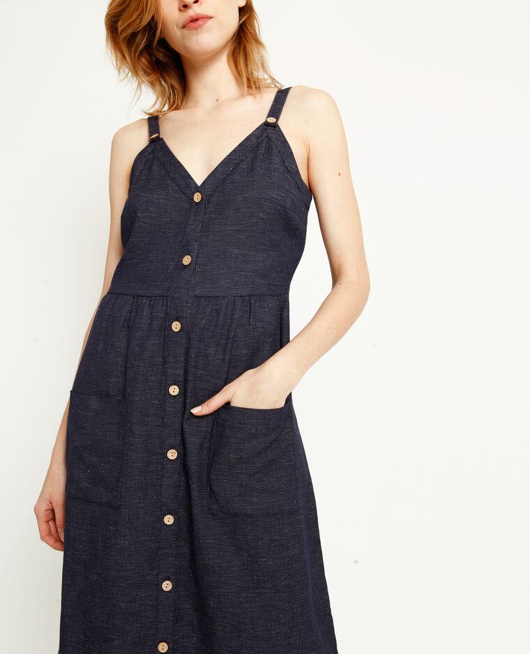 Lange jurk met knopen blauw