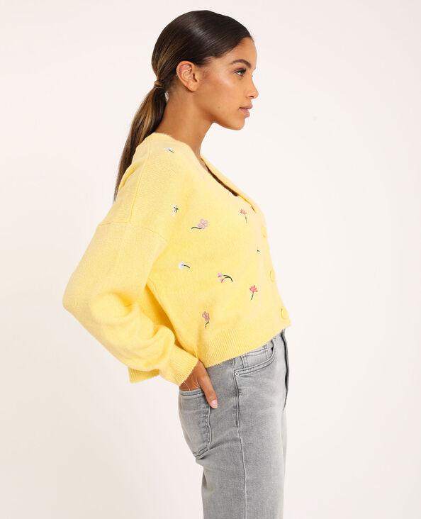 Gilet brodé jaune