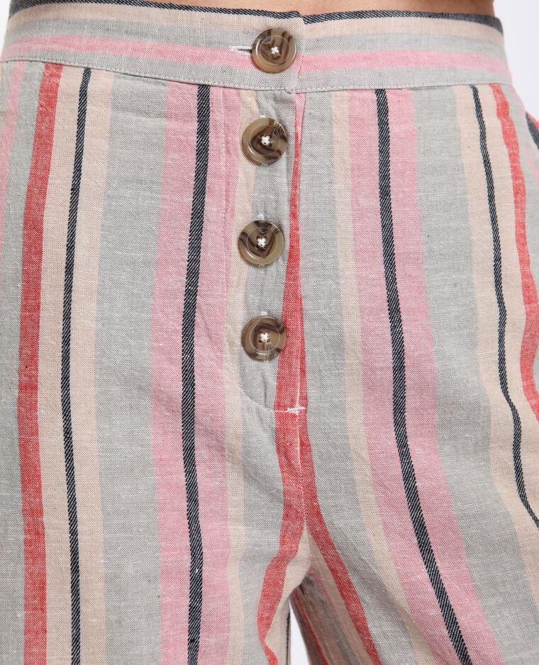 Pantalon rayé en lin beige