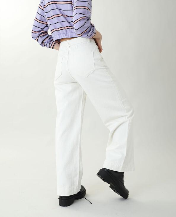 Jean wide leg high waist écru