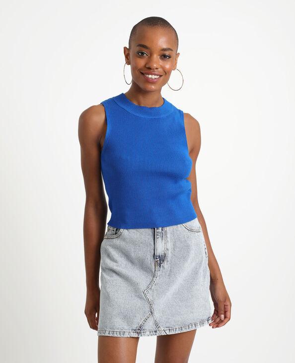 Top côtelé bleu