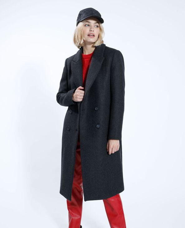 Manteau long avec laine gris anthracite - Pimkie