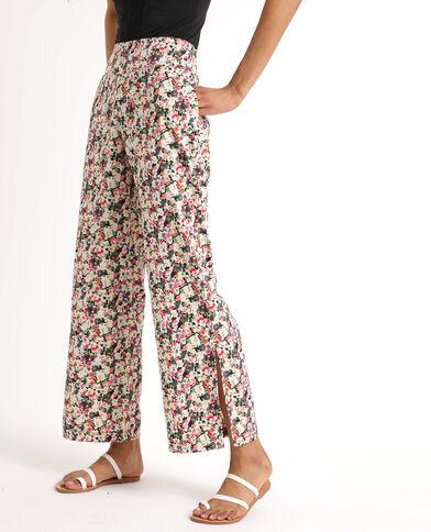 Pantalon fluide à fleurs noir