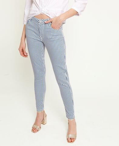 Skinny broek met strepen blauw