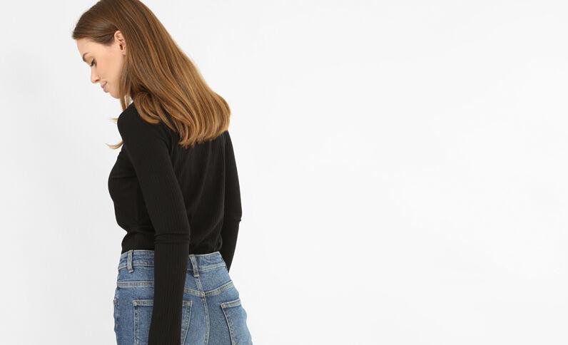 T-shirt en maille côtelée noir