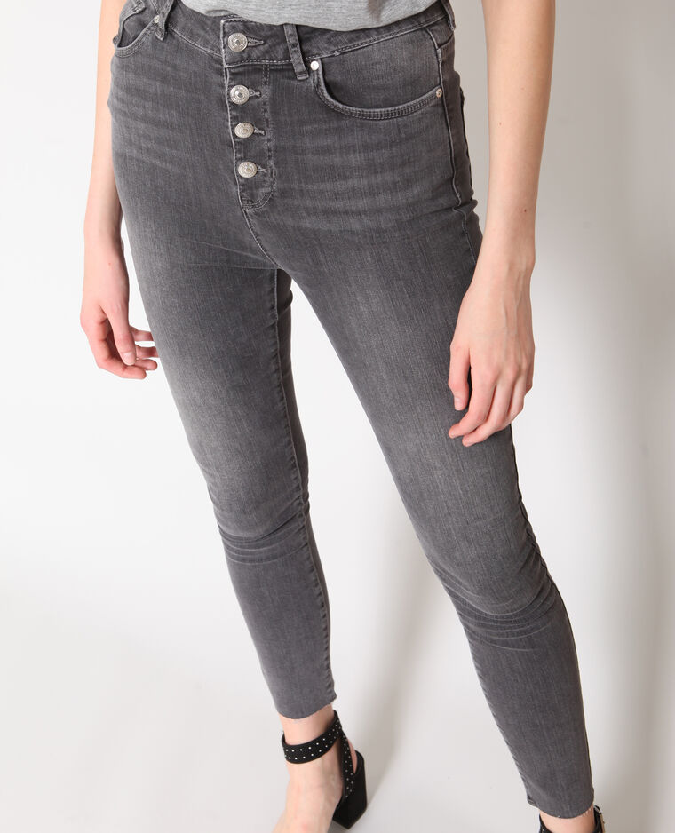 ade970a8c1 Jean skinny taille haute gris - 140656882A06 | Pimkie