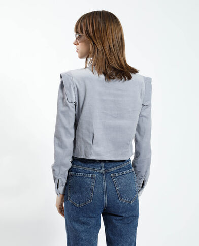 Cropped fluwelen hemd grijs - Pimkie