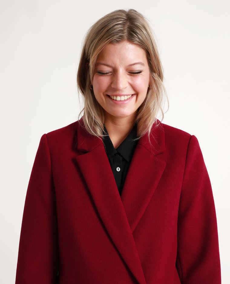 Manteau drap de laine prune