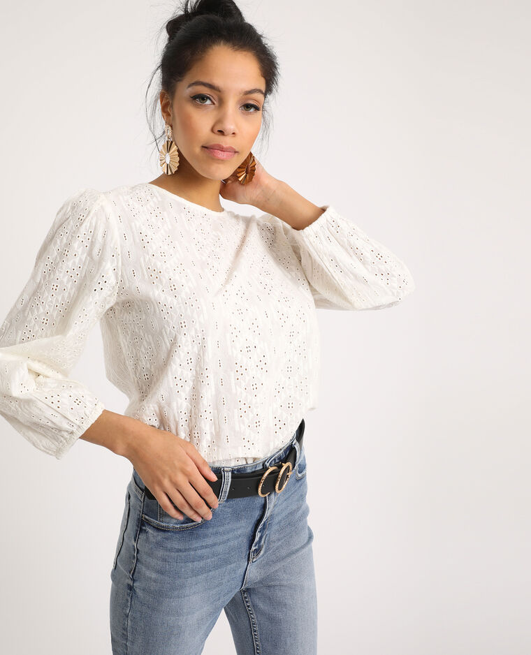 Geborduurde blouse gebroken wit