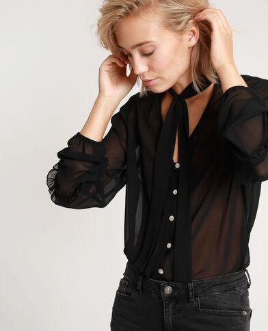 Doorschijnend hemd zwart