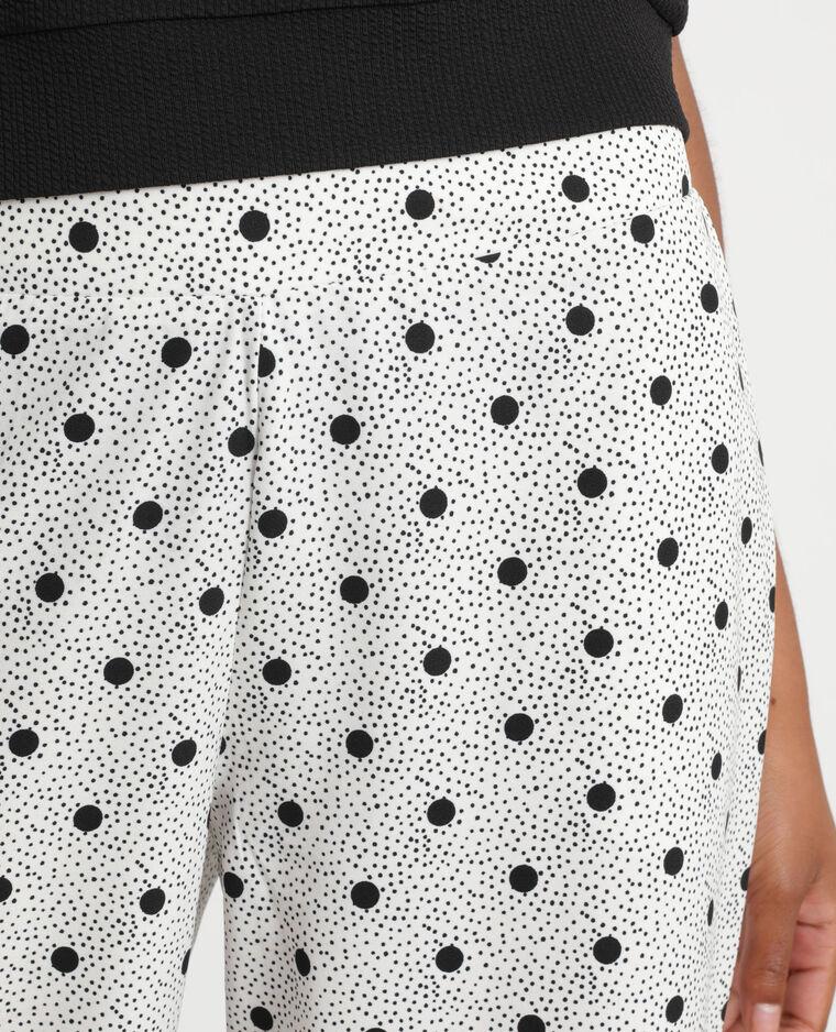 Pantalon fluide à pois blanc