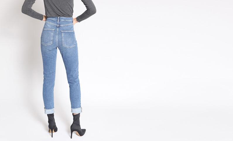 Slim fit jeans met hoge taille denimblauw
