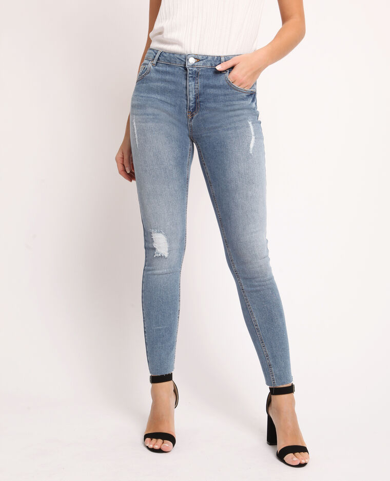 Jean skinny destroy bleu denim