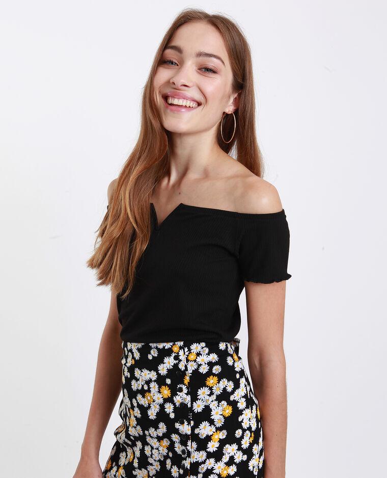 T-shirt petit col V noir