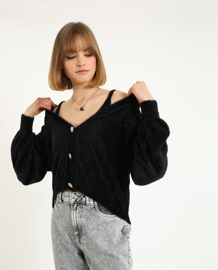 Behatop van tricot zwart