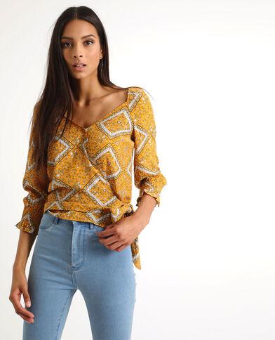 Bedrukte blouse geel