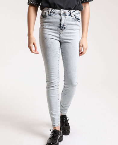 Verwassen skinny jeans met hoge taille Lichtblauw