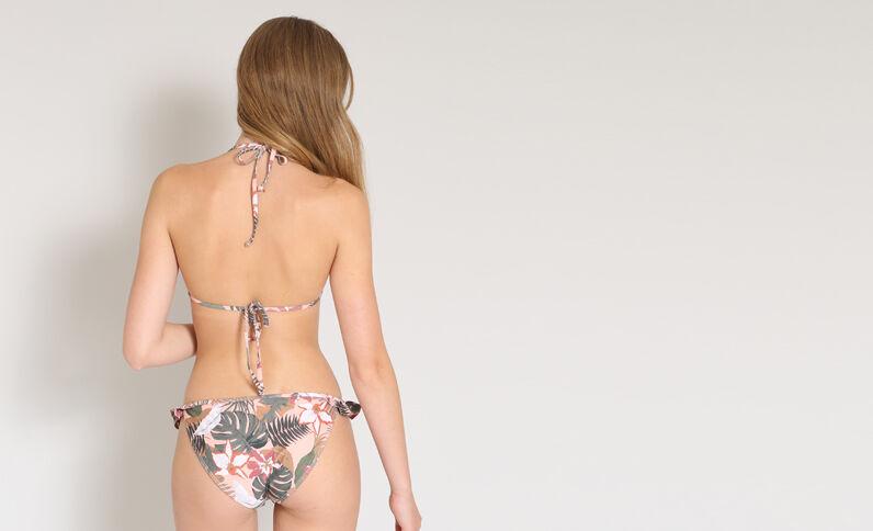 Haut de bikini volanté rose