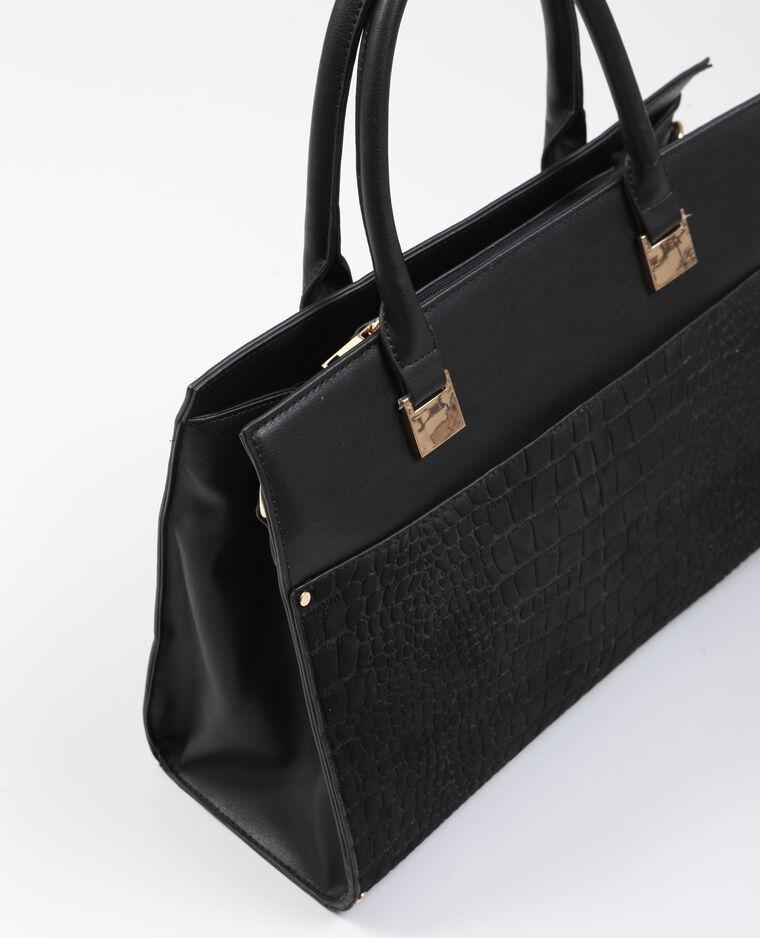 Handtas in krokostijl zwart