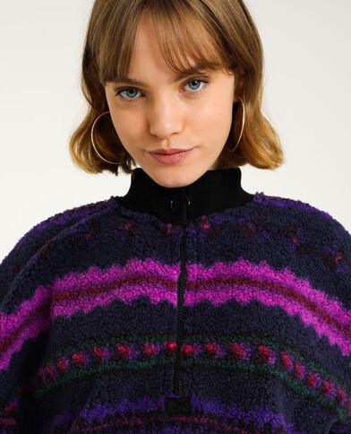 Sweater met rits en schapenvachteffect violet