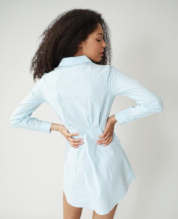 Lang getailleerd hemd met strepen blauw - Pimkie
