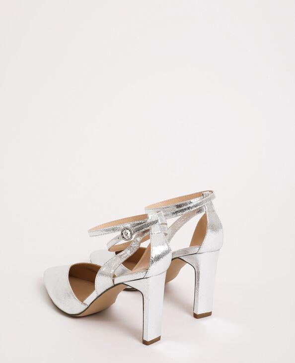Glanzende sandalen grijs