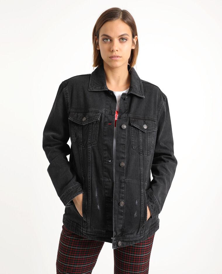 Ruim jeansjasje zwart