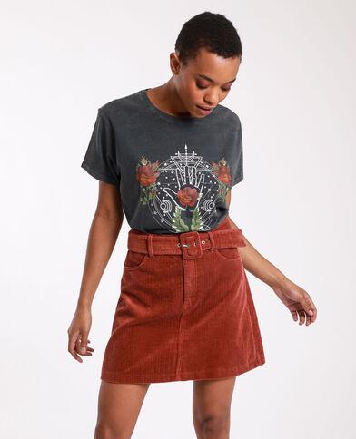 T-shirt met grafische print donkergrijs