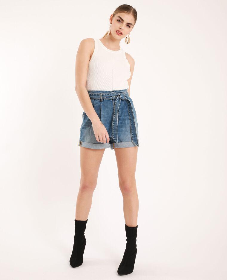 Short en jean taille haute bleu denim