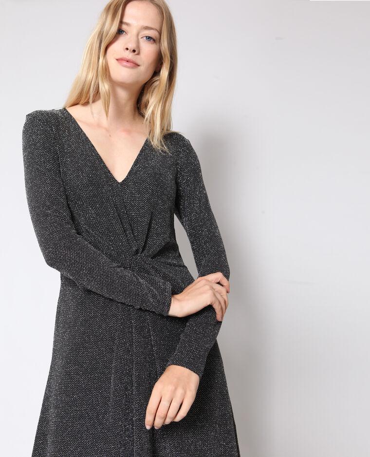 Robe trapèze lurex gris
