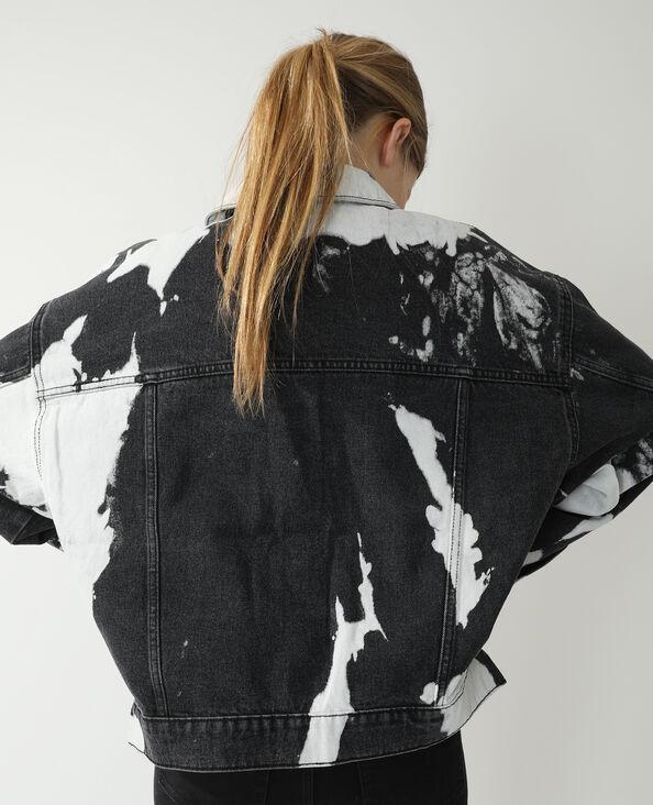 Oversized jeansvestje met koeienmotief zwart - Pimkie