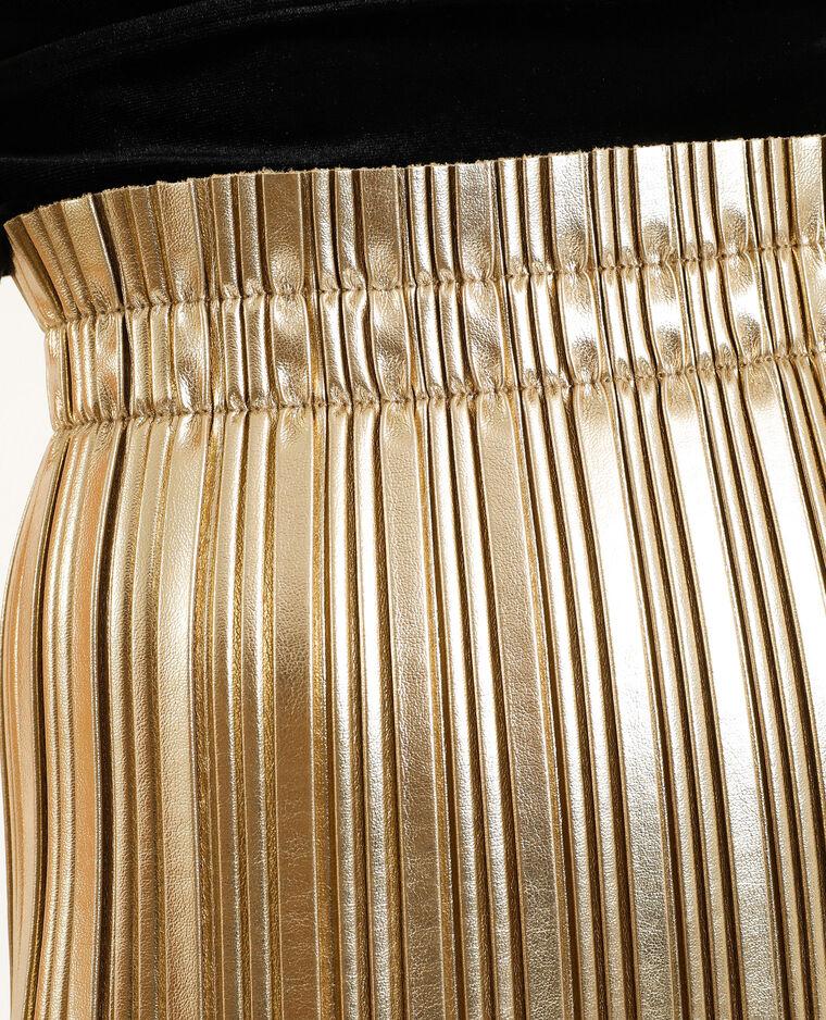 Jupe plissée simili cuir jaune - Pimkie