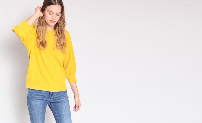 Sweater met pofmouwen geel