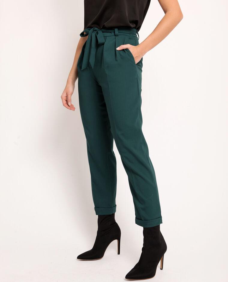 Pantalon city à ceinture vert