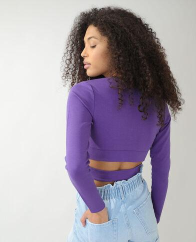 Cropped T-shirt met wikkeleffect violet - Pimkie