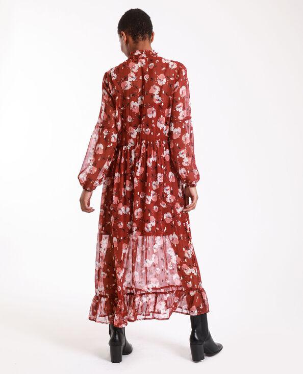 Lange jurk met bloemenprint roze