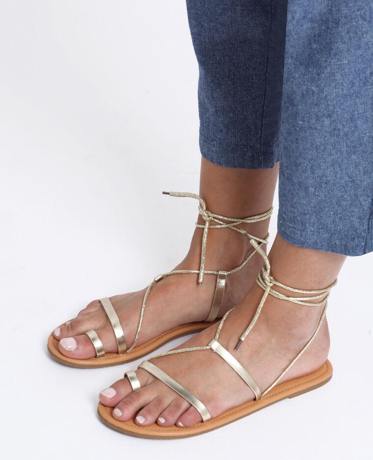 Sandales plates dorées jaune