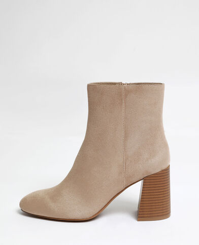 Bottines en microfibre marron