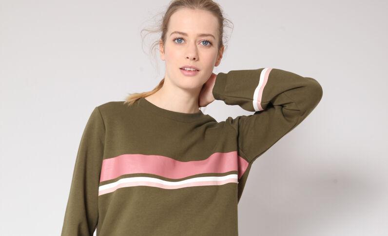 Sweater met strepen kaki