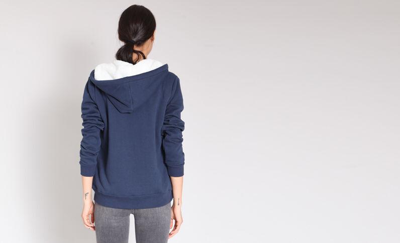 Sweater met rits marineblauw
