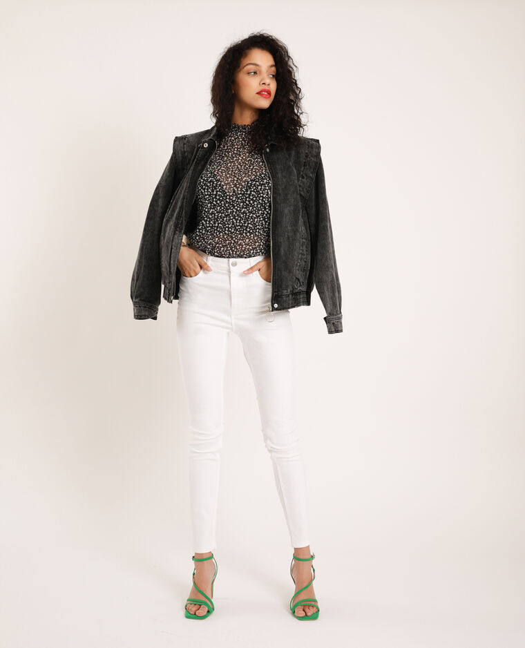Jean skinny taille haute blanc
