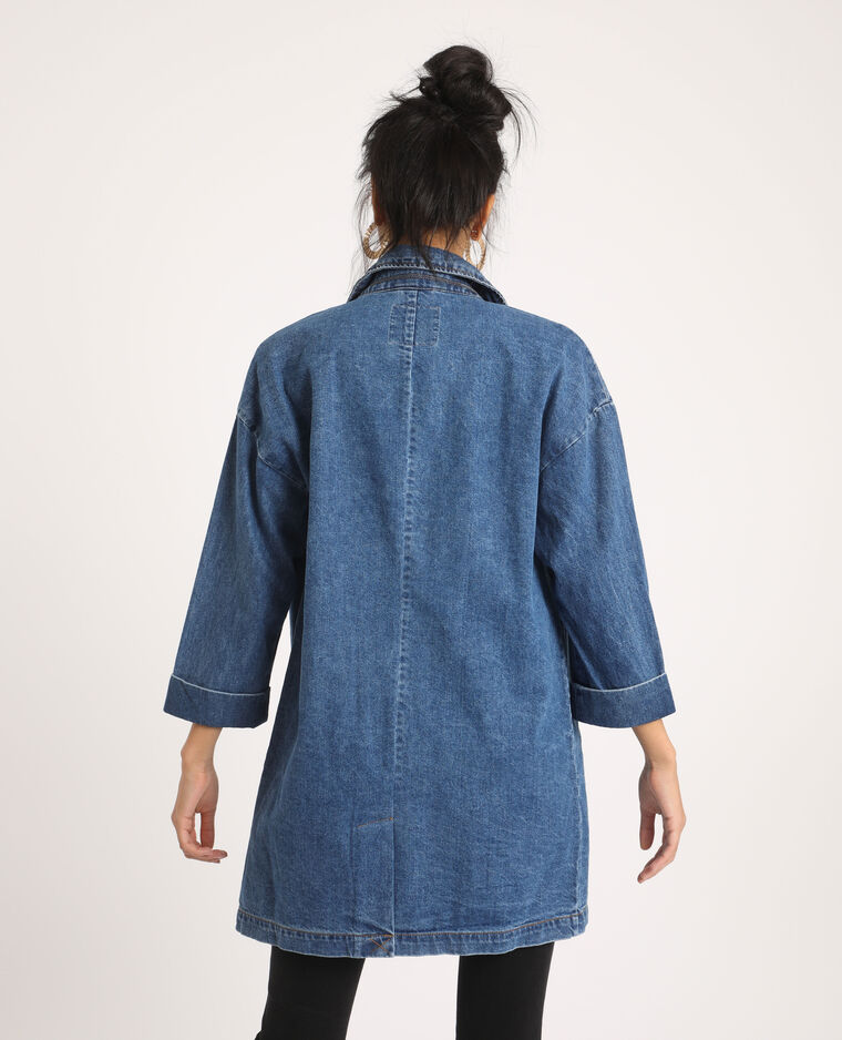 Manteau long en jean bleu denim - Pimkie