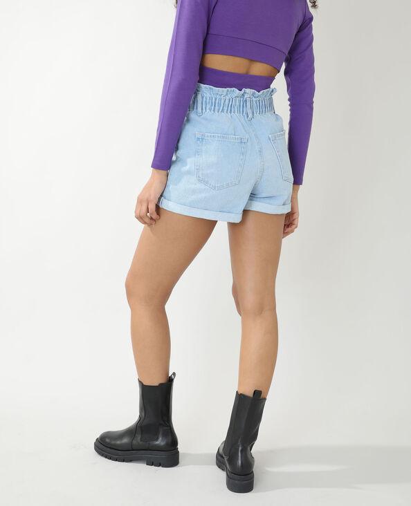 Jeansshort met hoge taille verwassen blauw - Pimkie