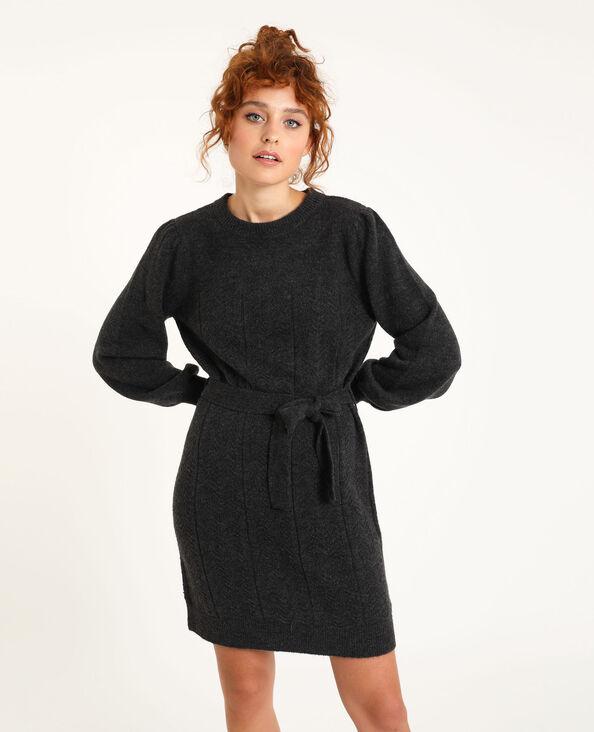 Robe pull avec ceinture gris