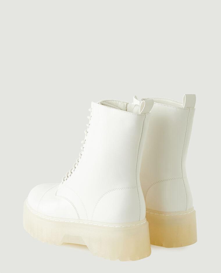 Boots plateformes en simili cuir blanc - Pimkie