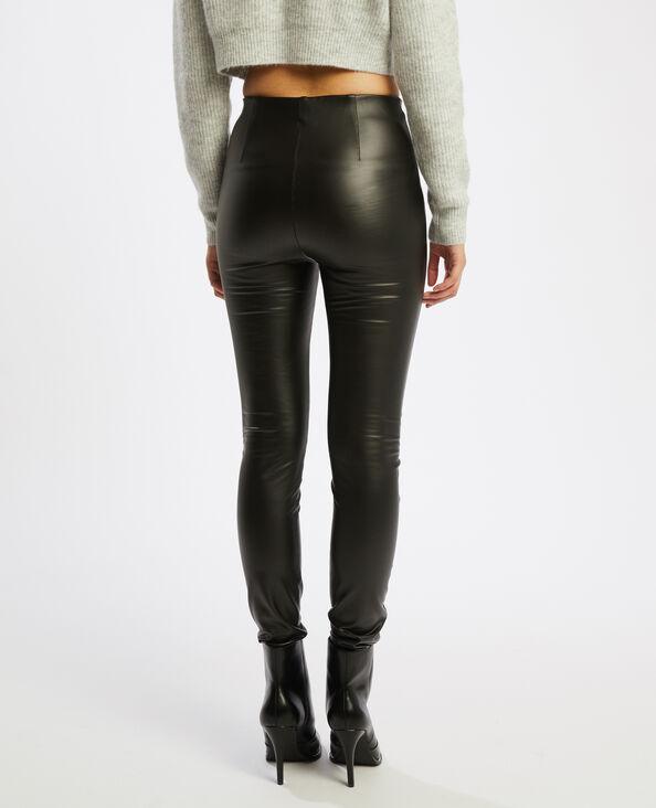 Legging chaud en simili cuir noir - Pimkie