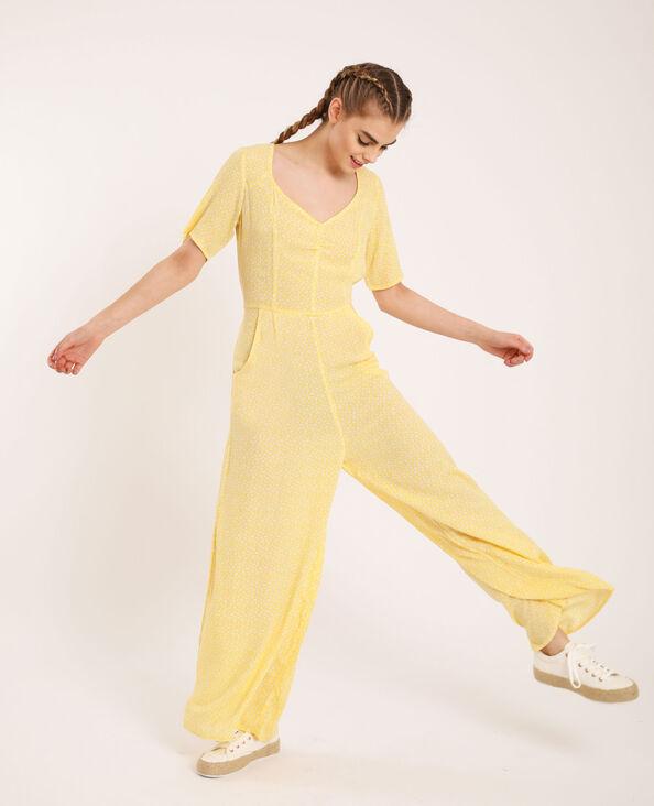 Jumpsuit met bloemenprint geel