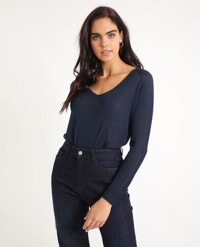 Dunne trui met V-hals marineblauw