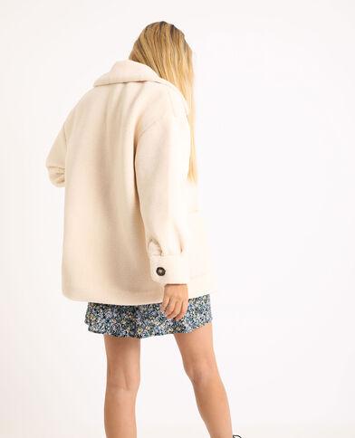 Straight-fit jasje met schapenvachteffect gebroken wit