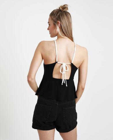 Topje met open rug zwart